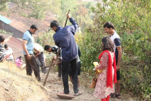 Cleaning of Village parkhandale and making staircase near Vidyamandir, parkhandale